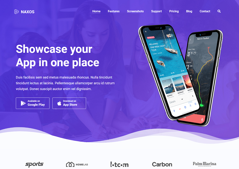 Naxos App Landing WordPress Theme